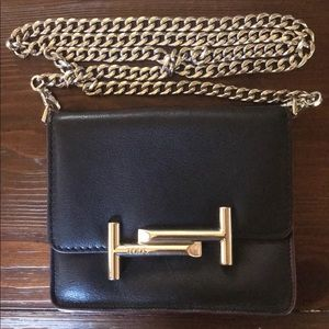Authentic Tod's Black/Silver Crossbody Handbag